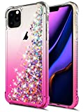 for iPhone 11 Pro Case, WORLDMOM Gradient Colorful Design Bling Flowing Liquid Floating Sparkle Colorful Glitter Waterfall TPU Protective Phone Case for iPhone 11 Pro 5.8 inch [2019], Rose Gold