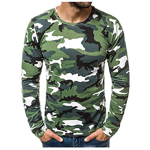 Camiseta de manga larga para hombre con estampado de camuflaje y costuras B verde L