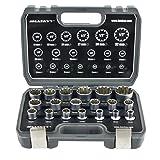 Juego de llaves de vaso vasos insertables Gear Lock 1/2' 8-32 I estriados Torx,...
