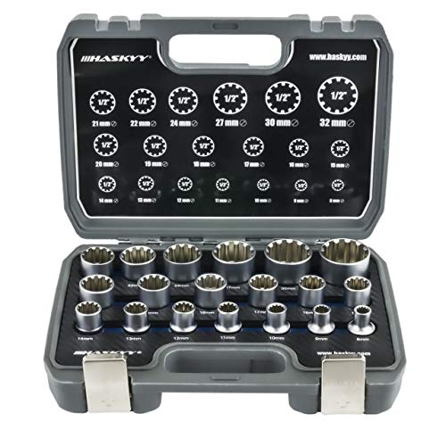 """Gear Lock Steckschlüssel/Stecknüsse 1/2"""" 8-32 Vielzahn Torx Zoll Werkzeug Außen Innen Nüsse/ 19tlg Universal Satz"""