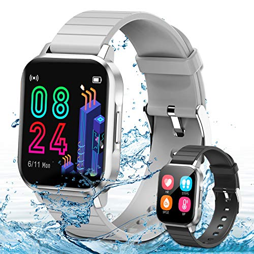 Smartwatch,Fitness Armbanduhr mit Blutdruck Messgeräte,Pulsoximeter,Pulsuhren Fitness Uhr Wasserdicht IP68 Fitness Tracker Schrittzähler Uhr für Damen Herren Smart Watch (Grau)