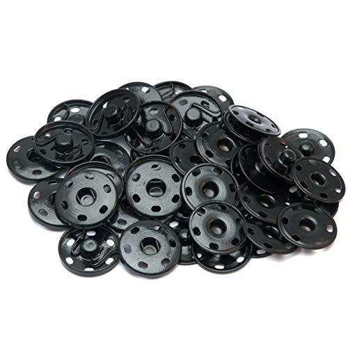40 juegos de broches de metal de latón negro de 15 mm, botones invisibles, broches, broches de presión, botones de presión para coser bolsos, bolsos, ropa, zapatos y sombreros, reparación de costura