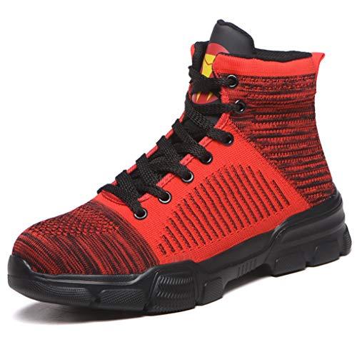 SHOPAMZ Sicherheitsschuhe Herren Damen, S3 Wasserdicht rutschfeste Schuhe Arbeitsschuhe mit Stahlkappe Sportlich Knöchelhoch Schutzschuhe Unisex,Rot,43EU