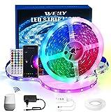 WEILY WiFi Tira LED 15M, 15m Color Flexible Que Cambia el Control del teléfono RGB Tira de luz llevada Inteligente Tiras LED