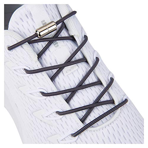 Elastic No Tie Shoelaces,Tieless Shoe Lacesfor Adults and Kids Grey
