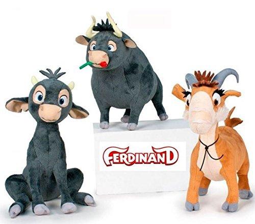 Ferdinand - Pack 3 Plüsch Qualität super weich - Toro Ferdinand Erwachsenen, jungen Bullen Ferdinand und Ziege Lupe 30 cm