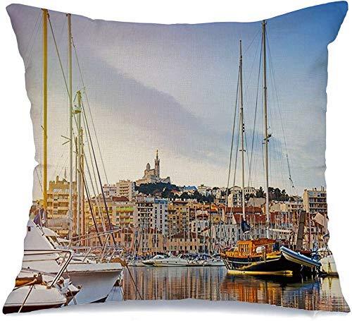 Funda de Cojine Throw CojínPaisaje urbano Arquitectura Dame La Vieux Marsella Mañana Provenza en Francia Monumentos Parques al aire libre Fundas para almohada 45X45CM