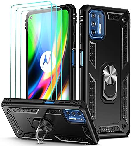 ivoler Funda para Motorola Moto G9 Plus con [Cristal Vidrio Templado Protector de Pantalla *3], Anti-Choque Carcasa con Anillo iman Soporte, Hard Silicona TPU Caso - Negro