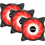 upHere 3-Pin LED Ventola da 120mm Super Silenzioso 3 Pack, LED Rosso/T3RD3-3-IT