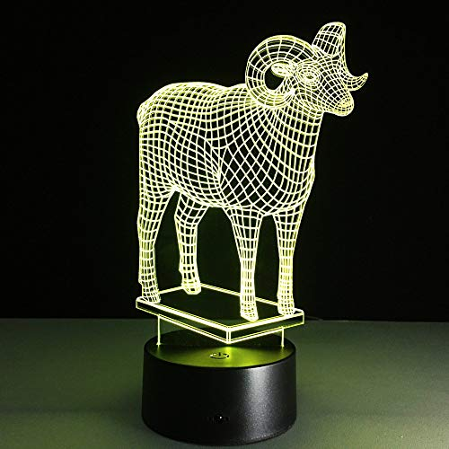 The Goat 3D Led Animal Night Light USB Table Lamp with Touch Switch Acrylic Colorful USB Table Lamp for Xmas Gift
