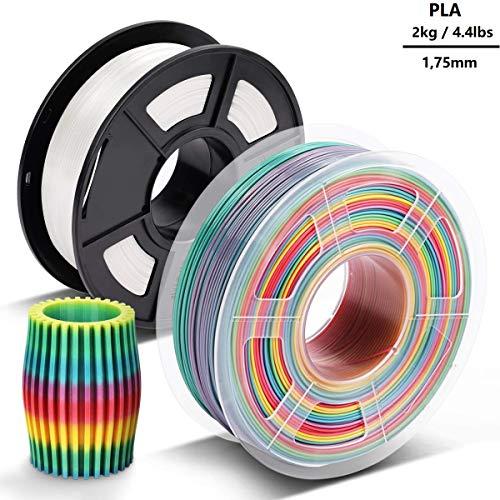 3D-Drucker-Filament PLA 1,75 mm 2kg - Clothink PLA Filament für 3D Printer Rainbow + Weiss