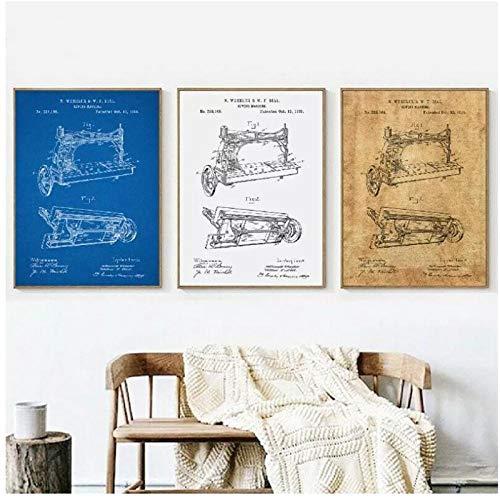 FUXUERUI Impresión de imagen modular lienzo pintura máquina de coser antigua patente impresión vintage arte de la pared de la habitación cartel nórdico decoración del hogar 50x70cmx3 sin marco