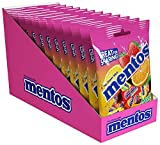 Mentos Chewy Mint Candy, Fruit, Individually Wrapped, Non Melting, Party, 40 Piece Peg Bag (Bulk Pack of 12)