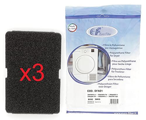 Euro Filter DFA100 - Juego de 3 filtros de esponja para aspiradora Beko Smeg 2964840100 2964840200 782372152 782372445