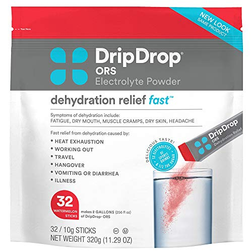 DripDrop ORS - Patented Electrolyte Powder for Dehydration Relief fast - For Heat Exhaustion, Hangover, Illness, Sweating & Travel Recovery, Watermelon, 32Count Pouch, Makes (32) 8oz Servings