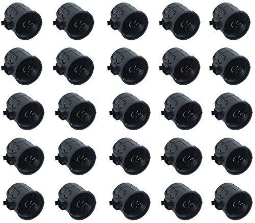 Meister Schalterdose Unterputz - 60 mm tief - schwarz - 25 Stück - 60 mm Durchmesser - Zum Einbau von Schaltern & Steckdosen / Unterputzdose mit Tunnelstutzen / Gerätedose / Abzweigdose / 7460110