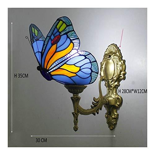 Barroca lámpara de pared de la vendimia turca dormitorio pasillo del pasillo del cuarto de baño del vidrio manchado de la mariposa Pantalla Soporte de pared Luz (Lampshade Color : F)