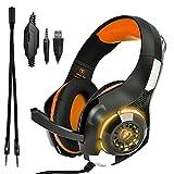Beexcelente GM-1 - Auriculares de Diadema con Cable de 3,5 mm para PS4, Xbox One, PC, Ordenador portátil, Tableta, teléfono Celular (Naranja)
