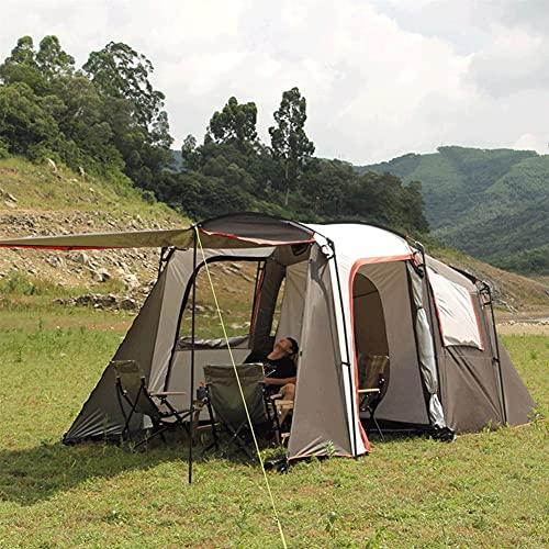Kompaktes 5-8 Firstzelte mit Markise für Camping im Garten,Trekking und Camping, Doppelschicht im Freien Regensturmfeld Pergola,wasserdicht,ein Schlafzimmer und ein Wohnzimmer ( Farbe : Coffee )