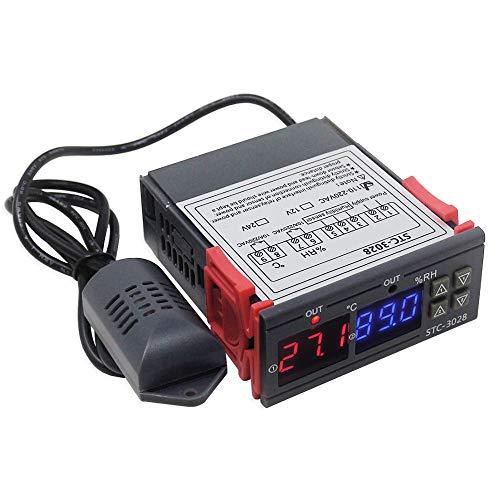 KETOTEK Regolatore di umidità di temperatura Digitale con sonda AC 220V, Umidostato Termostato per Incubatrice Uscita a Relè, riscaldamento raffreddamento Umidificare deumidificazione