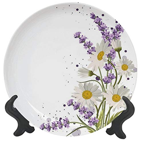 Lavender Ceramic Decorative Plate Lilac Reseda Green Marigold Porcelain Ceramic Plate Ceramic Ornament for Dining Table Tabletop Home Decor 10 inch