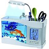 LOVEPET USB Mini Fish Tank for Desktop LED Lighting Calendar Pen Holder Fashion Aquarium,White