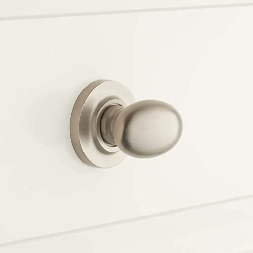 """Signature Hardware 945968-112 1-1/2"""" Solid Brass Oval Knob with Beveled Round Base Plate"""