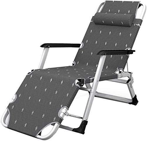 YUYANDE Patio Cero Gravedad Silla al aire libre plegable Sillas reclinables Lado de la piscina usando la silla de salón del césped con almohada, transpirable y fresco, estable y duradero, sillas de pa