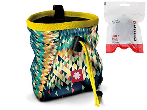 Ocun Chalkbag Lucky/Push mit Chalk Ball und Belt (Triangle Yellow)