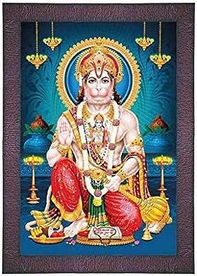SAF UV Textured 'Hanuman ji' Digital Reprint Painting (9.5 inches X 13.5 inches) SANFR705