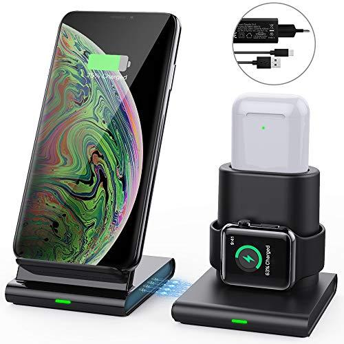 MoKo Cargador Inalámbrico Wireless Charger Compatible con iPhone y Apple Watch, 3 en 1 Base de Carga +Adapdator Rápida para iWatch Series 2/3/4/5, AirPods 1/2, iPhone 11 Pro Max/11 Pro/11/XR/Xs/8