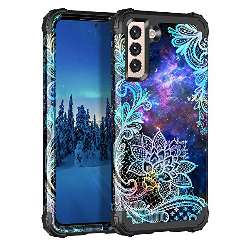 Casetego Compatible with Galaxy S21 5G Case,Floral Three Layer Heavy Duty Sturdy Shockproof Soft TPU+Hard PC Protective Cover Case for Samsung Galaxy S21 5G 6.2 inch,Blue Mandala