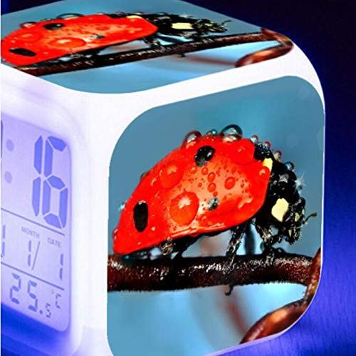 GUOYXUAN Reloj Despertador Digital LED multifunción de Pantalla Grande Reloj Despertador electrónico Luminoso Sensor táctil Negro