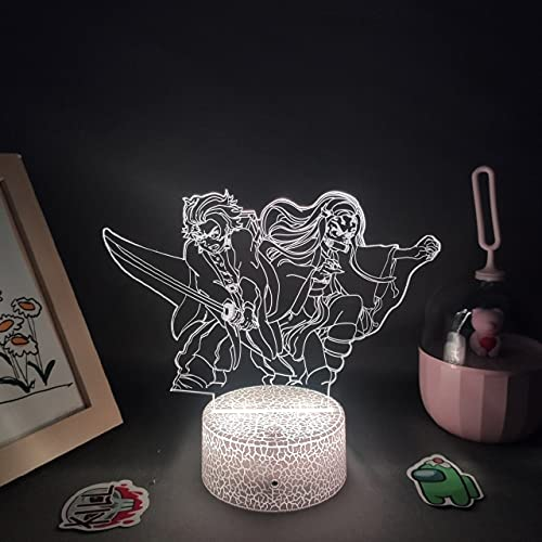 Demon Slayer Anime Figura Kamado Tanjiro Nezuko 3D Led Neon Night Lights Kimetsu No Yaiba Regalos Lava RGB Lámparas Manga Taber Decoración