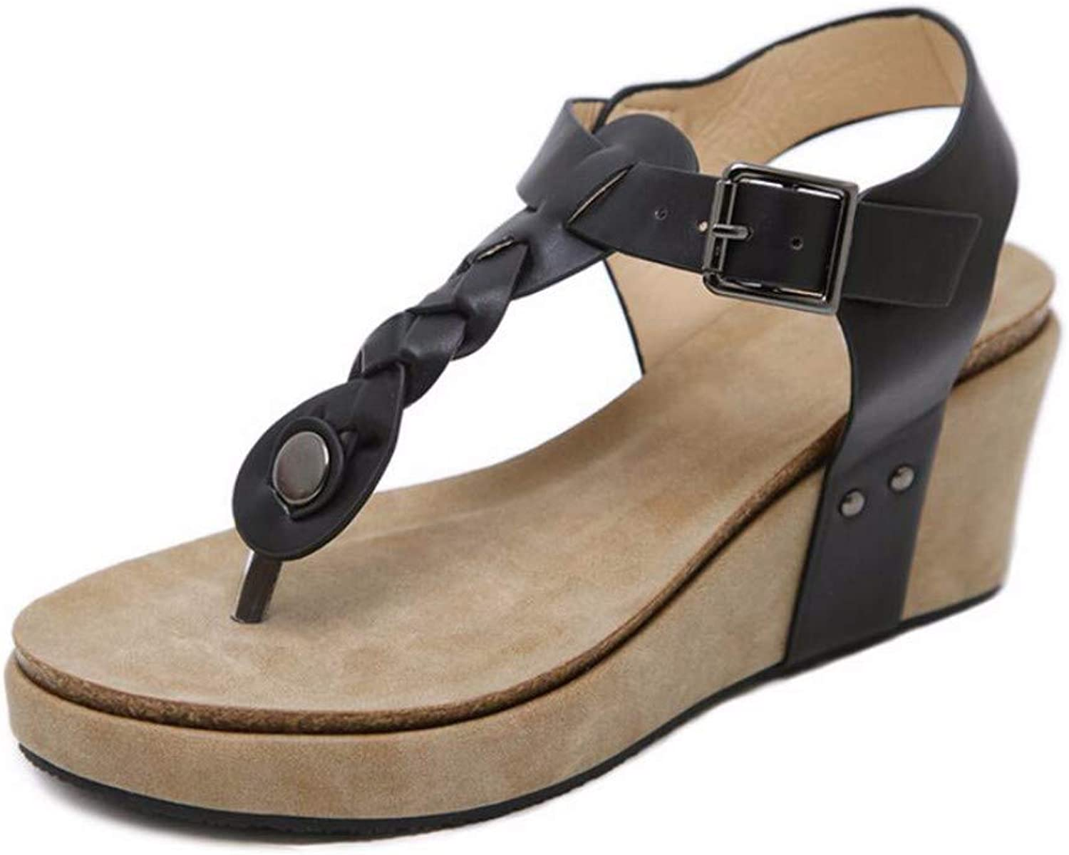 ZPSPZ sandals womens Comfortable Large-Sized Summer Open-Toed Sandals with Sloping Heels and Herringbone Buckles for Women in Europe and America