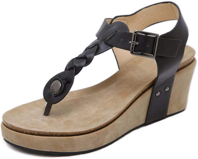 ZPSPZ sandalen damen Komfortable, groe, im Sommer geffnete Sandalen mit schrgen Abstzen und Hüllen für Frauen in Europa und Amerika,schwarz,Sechsunddreiig