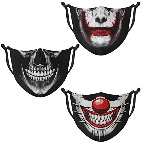 Ranmov Skull Face Mask for Men Women Cloth Face Mask Adjustable Washable Reusable Clown Face Mask Cover Outdoor Sports Workout for Dust Wind 3 Pack (Clown 04)