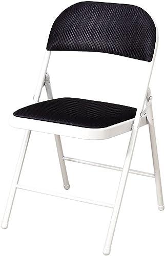 GHM Chaise Pliante capitonnée siège à la Maison en métal Fort et Chaise de Repos de Dos d'ordinateur (Couleur   Noir)
