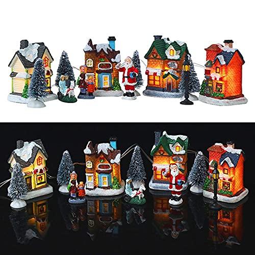 Yuxinkang 10 Piezas Juego De Aldea Navideña, Casas Navideñas Iluminadas, Decoración Navideña con Figuras Navideñas