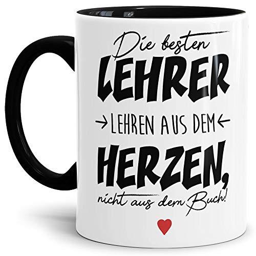 Lehrer-Tasse mit Spruch Die besten Lehrer - Schwarz - Klasse/Schule/Geschenk-Idee/Danke/Abschied/Innen & Henkel Schwarz