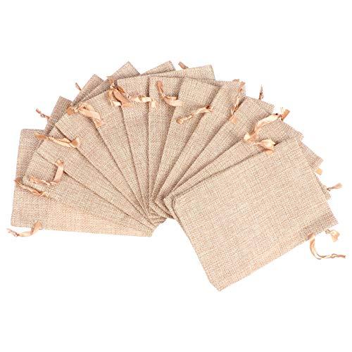 Cabilock 12 Piezas Bolsas de Arpillera con Cordón Bolsas de Joyería de Lino Bolsas de Regalo de Boda de Arpillera Bolsas de Dulces Bolsas de Elaboración de Sacos para Bodas Fiesta de