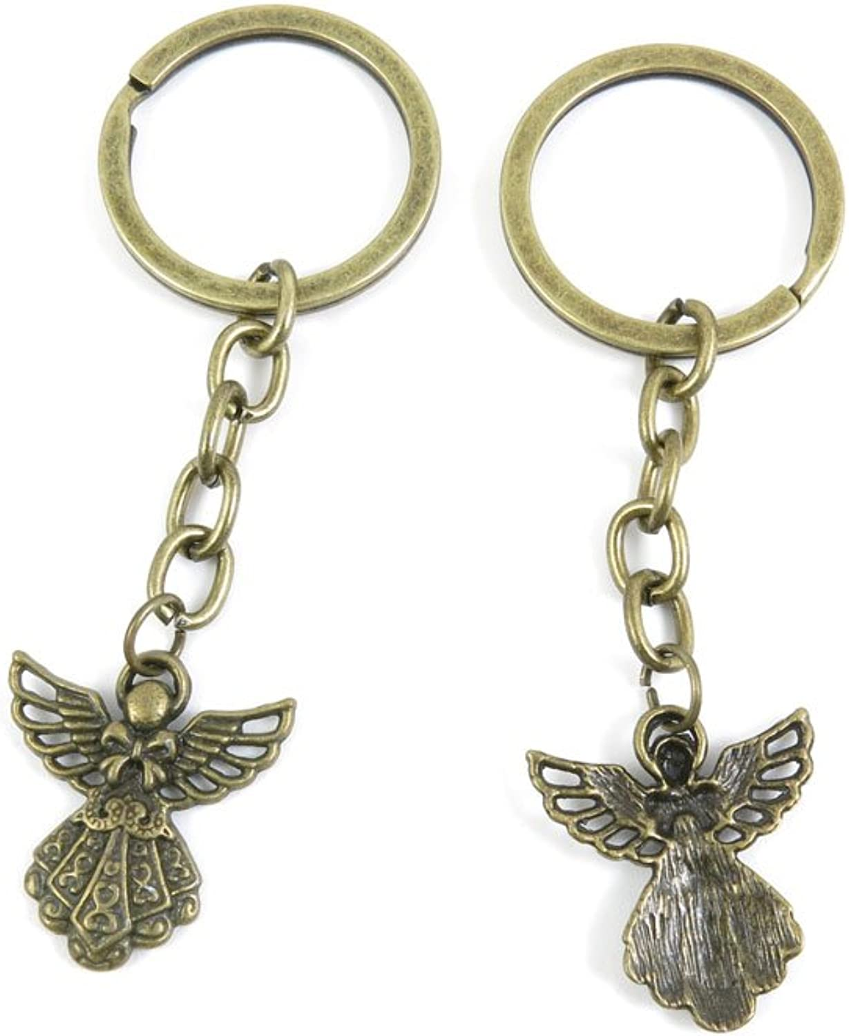100 PCS Keyrings Keychains Key Ring Chains Tags Jewelry Findings Clasps Buckles Supplies D4SU2 Elf Bow Tie Angel