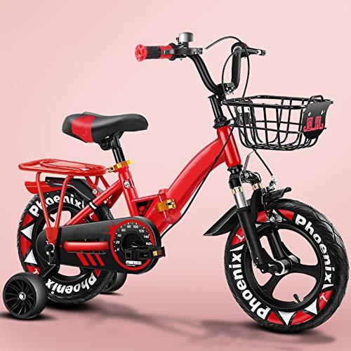 WANG-L Bicicleta para Niños para Niños Bicicleta para Niños De 2 A 10 Años Freestyle para Niños Y Niñas 12' 14' 16' 18' con Estabilizadores,Red-16inch