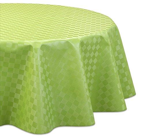 Wachstuchtischdecke OVAL RUND ECKIG Motiv u. Größe wählbar, Tischdecke abwischbar (Rund 140 cm Reliefdruck - Quader Grün)