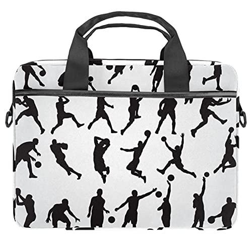 25 imágenes negras de jugadores de baloncesto bolsas para ordenador portátil de 13.4 a 14.5 pulgadas para portátil de negocios con correa extraíble Satchel Case Laptop Maletín