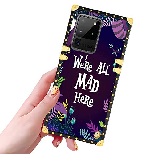 DISNEY COLLECTION Samsung Galaxy S20 Ultra 5G Case Alice in Wonderland Pattern Glitter Square Luxury Design Slim Shockproof Bumper Protective Cover for Galaxy S20 Ultra 6.9 Inch