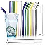 Pajitas de Cristal Reutilizables, 12 Pajitas con 4 Cepillos de Limpieza, Pajitas Largas 21.5cm, Pajitas Transparentes, Pajitas de Colores, Pajitas de Té Aptas para Cócteles, Batidos, Jugos y Bebidas