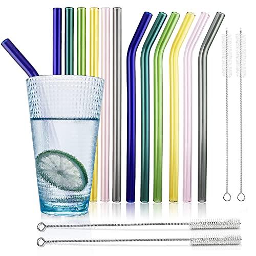 Pajitas de Cristal Reutilizables, 12 Pajitas con 4 Cepillos de Limpieza, Pajitas...