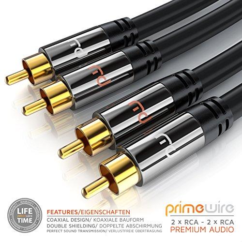 Cinch Audio Kabel - 3m - Aux Eingänge Audio 2x Cinch RCA Stecker zu 2x Cinch RCA Stecker - Metall Stecker - doppelte Schirmung - Koaxialkabel geeignet für Verstärker, Stereoanlangen, HiFi Anlagen