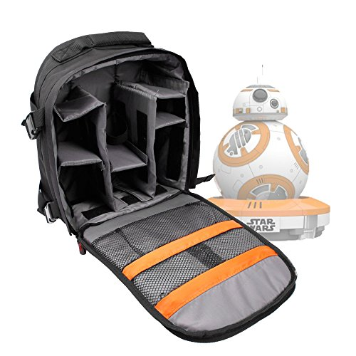 DURAGADGET Mochila para Drone BB-8 Star Wars - Incluye Funda Impermeable - con Compartimentos Internos